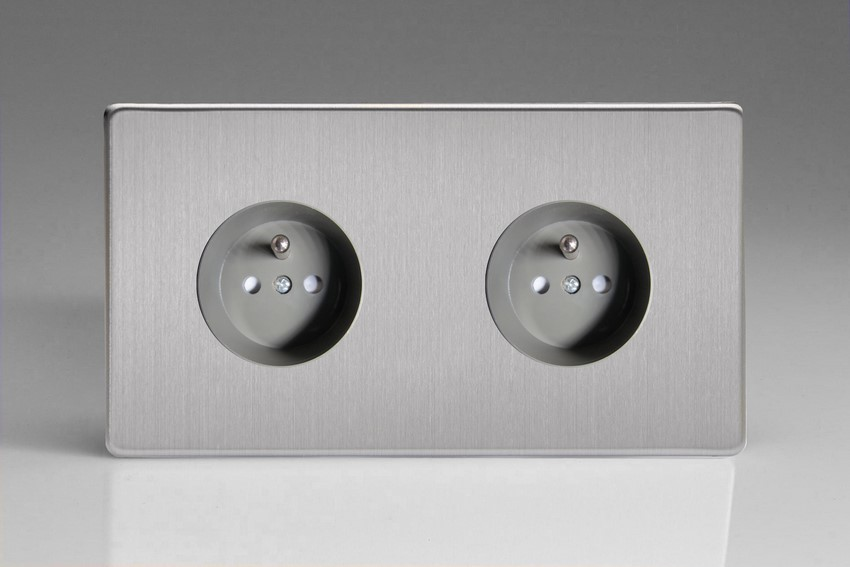XES44FG Varilight European 2 Gang (Double), Euro (Pin Earth) Flush Design Socket, Dimension Screwless Brushed Steel (Double Plate)