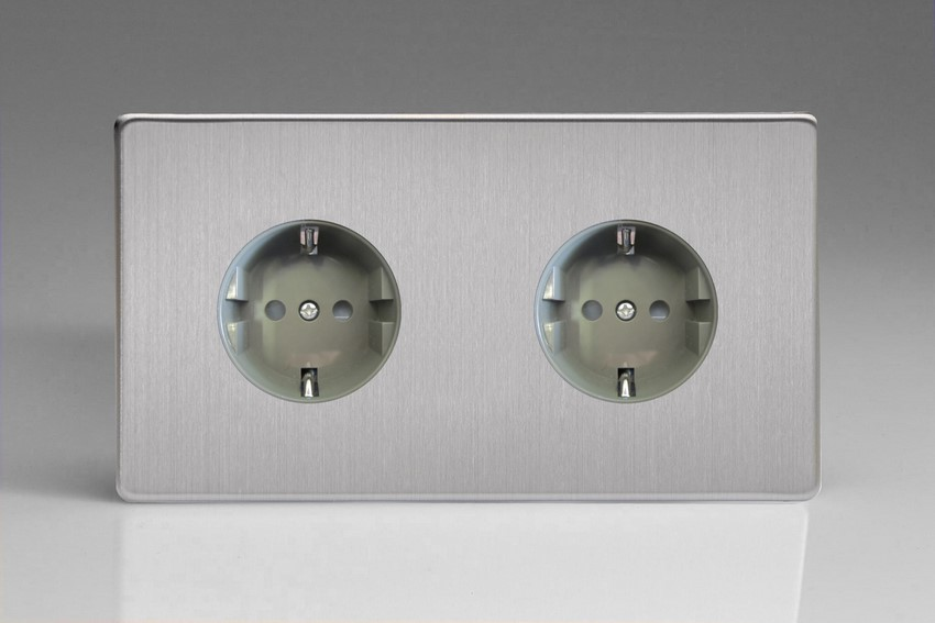 XES55FG Varilight European 2 Gang (Double), Schuko Flush Design Socket, Dimension Screwless Brushed Steel (Double Plate)