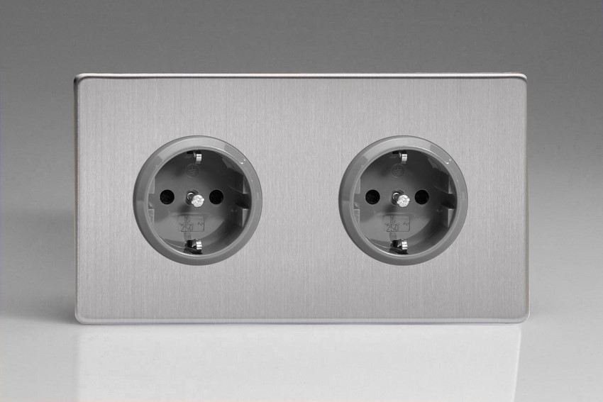XES5.5S Varilight European 2 Gang (Double), Schuko Protruding Design Socket, Dimension Screwless Brushed Steel (Double Plate)
