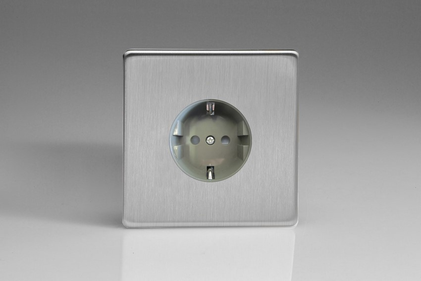 XES5FG Varilight European 1 Gang (Single), Schuko Flush Design Socket, Dimension Screwless Brushed Steel