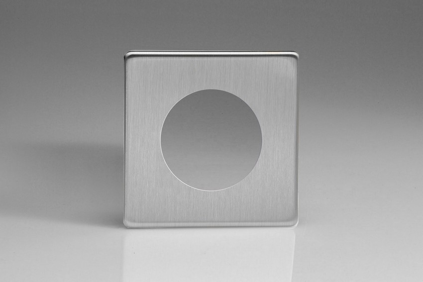 XESG1S-P Varilight European VariGrid Single faceplate with a 1 hole cut-out, Dimension Screwless Brushed Steel