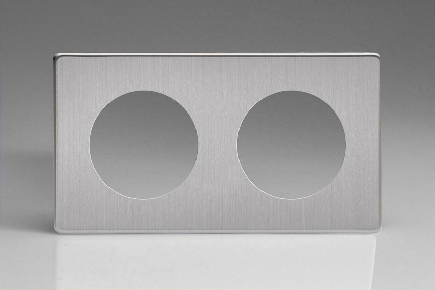 Varilight European VariGrid Double faceplate with a 2 hole cut-out in Brushed Steel