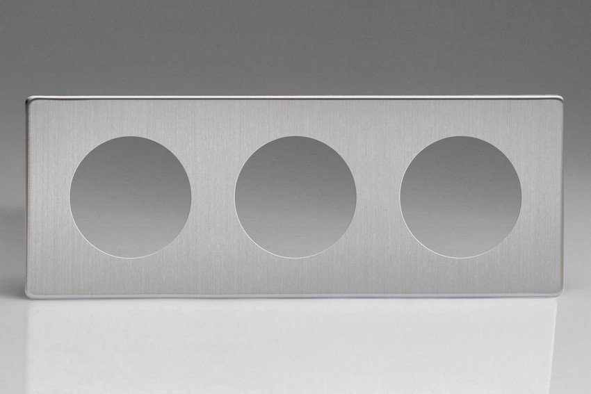 Varilight European VariGrid Triple faceplate with a 3 hole cut-out in Brushed Steel