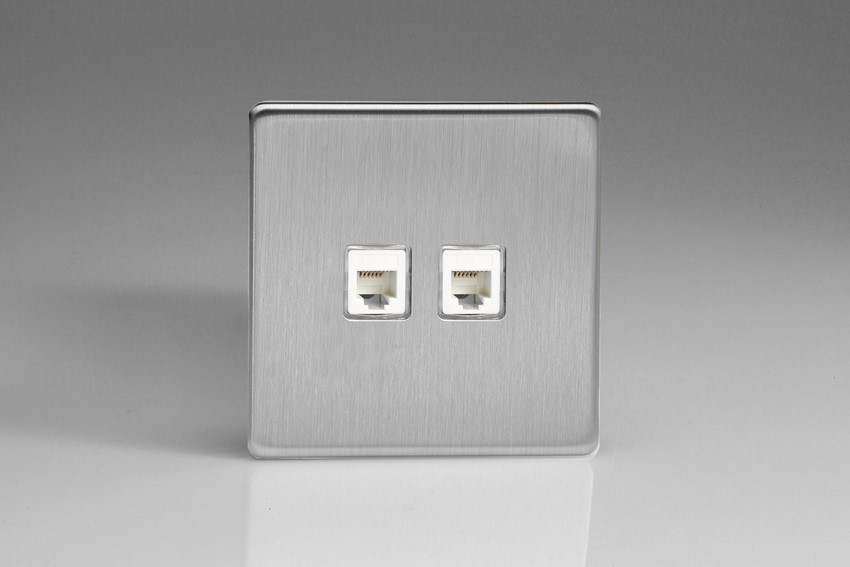 XESRJ12.12S Varilight European 2 Gang (Double) RJ12 Socket for European, Irish, International, telephone and other RJ12 applications, Dimension Screwless Brushed Steel