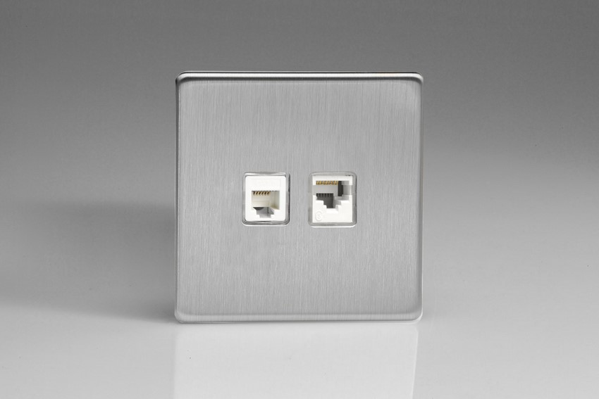 XESRJ12.45S Varilight European 2 Gang (Double), RJ45 (CAT5/5e) and RJ12 Socket, Dimension Screwless Brushed Steel