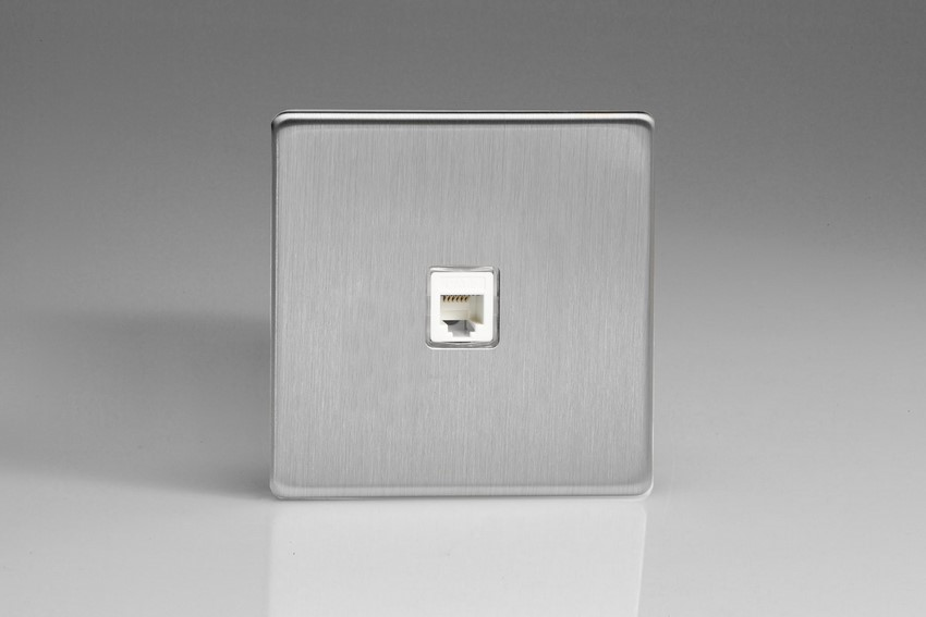 XESRJ12S Varilight European RJ12 Socket for European and Irish telephone and other RJ12 applications, Dimension Screwless Brushed Steel