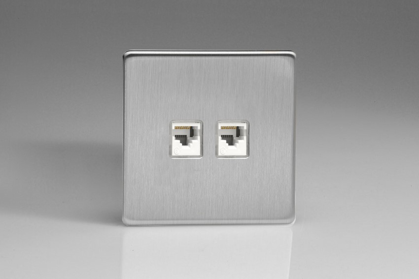 XESRJ45.45S Varilight European 2 Gang (Double), RJ45 (CAT5/5e) Socket, Dimension Screwless Brushed Steel