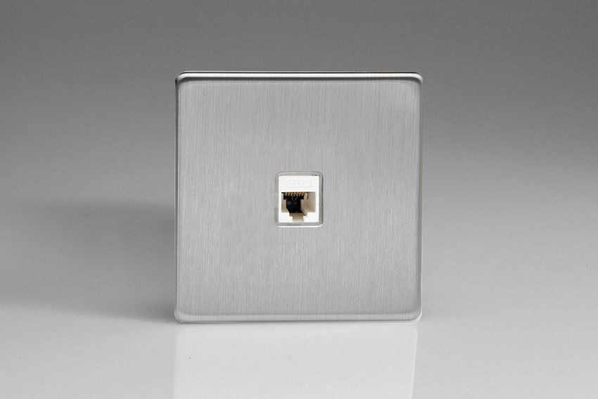 XESRJ456S Varilight European 1 Gang (Single), RJ456 (CAT6) Socket, Dimension Screwless Brushed Steel
