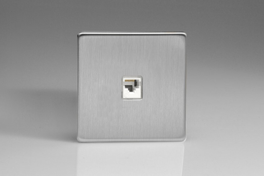 XESRJ45S Varilight European 1 Gang (Single), RJ45 (CAT5/5e) Socket, Dimension Screwless Brushed Steel