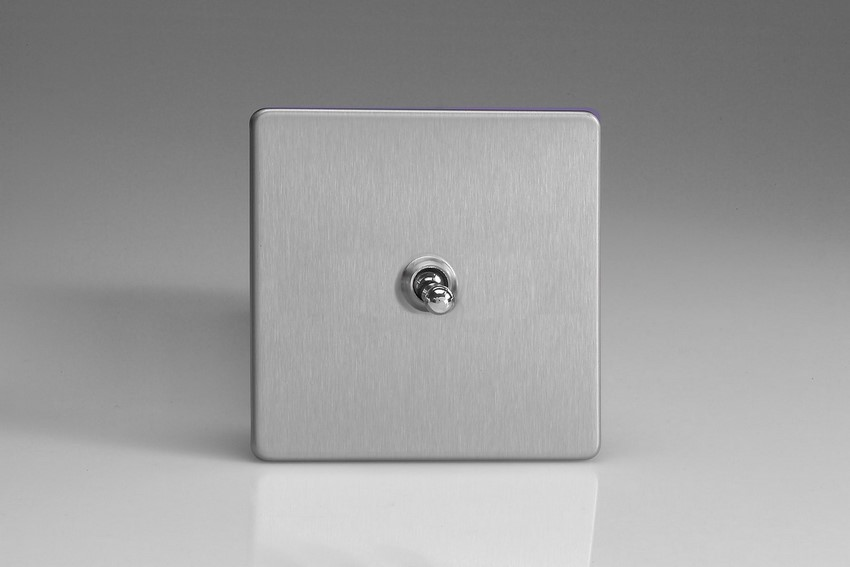XEST1S Varilight European 1 Gang (Single), 1 or 2 Way 10 Amp Classic Toggle Switch, Dimension Screwless Brushed Steel