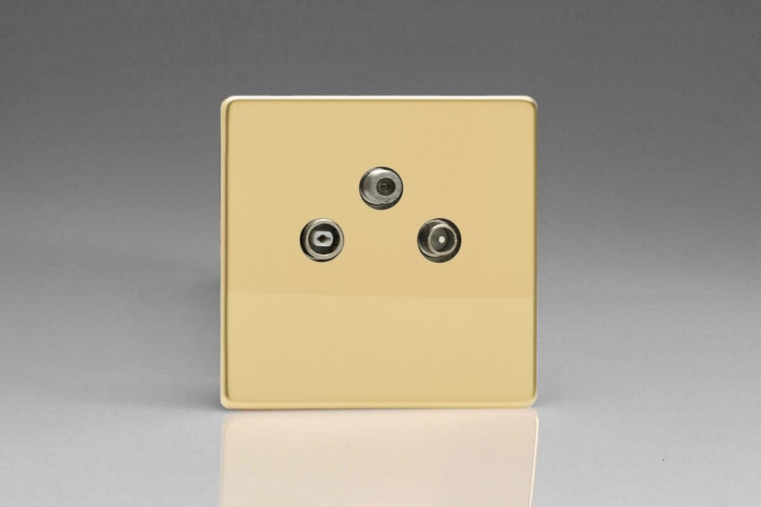 XEV3RTVS Varilight European RTV-SAT Final Socket, for Analogue and Digital RTV-SAT Installations, Dimension Screwless Polished Brass