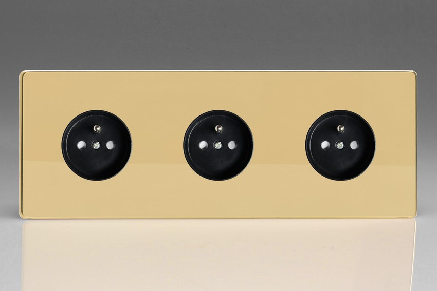 XEV4.4.4S (XEV444FB) Varilight European 3 Gang (Triple), Euro (Pin Earth) Flush Design Socket, Dimension Screwless Polished Brass (Triple Plate)
