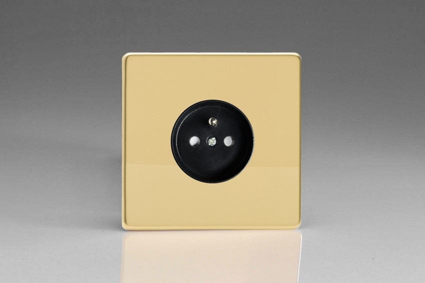 XEV4FB Varilight European 1 Gang (Single), Euro (Pin Earth) Flush Design Socket, Dimension Screwless Polished Brass