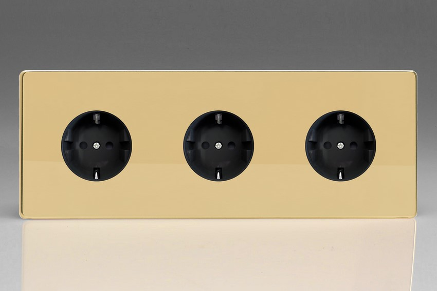 XEV555FB Varilight European 3 Gang (Triple), Schuko Flush Design Socket, Dimension Screwless Polished Brass (Triple Plate)