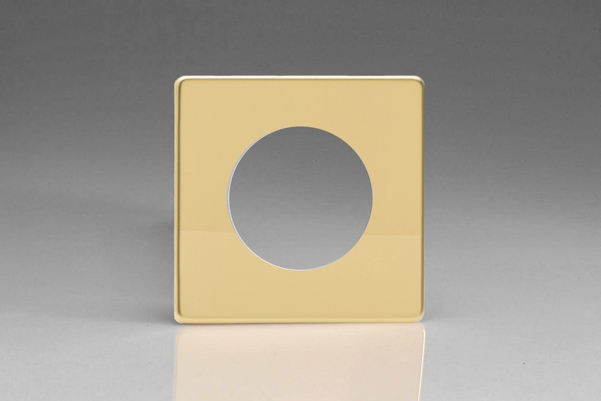 XEVG1S-P Varilight European VariGrid Single faceplate with a 1 hole cut-out, Dimension Screwless Polished Brass