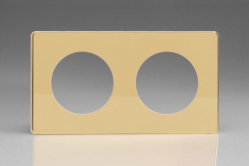 XEVG2S-P Varilight European VariGrid Double faceplate with a 2 hole cut-out, Dimension Screwless Polished Brass