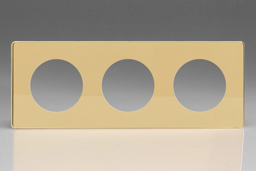 XEVG3S-P Varilight European VariGrid Triple faceplate with a 3 hole cut-out, Dimension Screwless Polished Brass