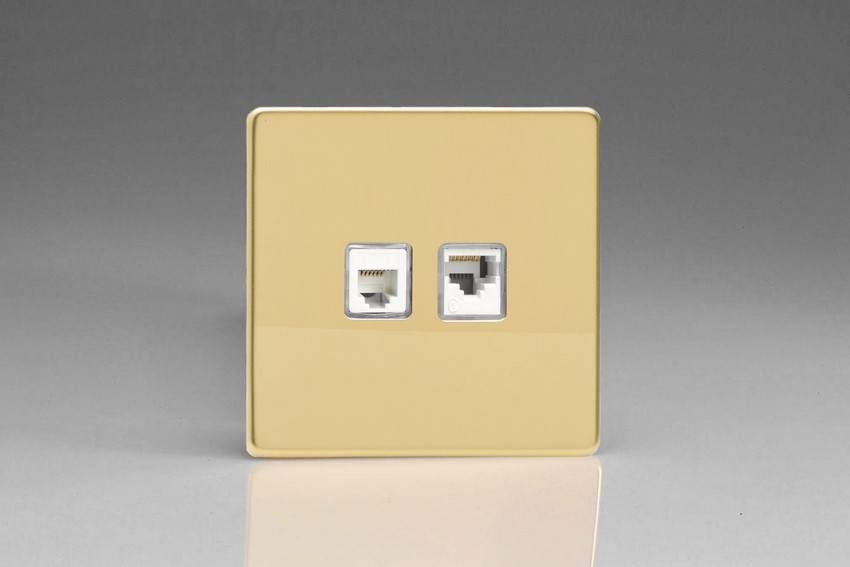 XEVRJ12.45S Varilight European 2 Gang (Double), RJ45 (CAT5/5e) and RJ12 Socket, Dimension Screwless Polished Brass