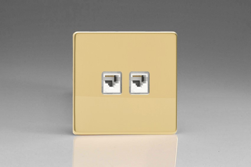 XEVRJ45.45S Varilight European 2 Gang (Double), RJ456 (CAT6/5/5e) Socket, Dimension Screwless Polished Brass