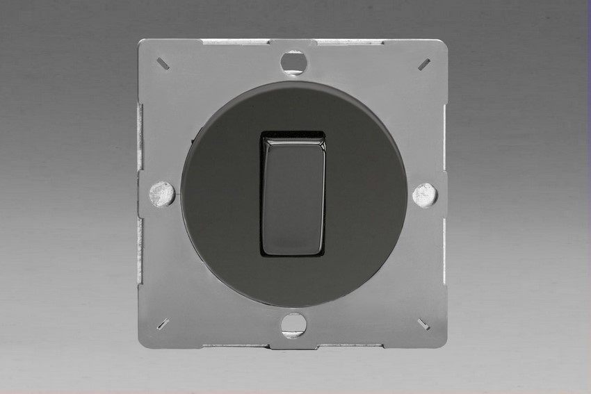 Z1EG1I-P Varilight European VariGrid 1 gang 1 or 2 Way 10A Rocker Iridium Black Switch, for use with VariGrid Single, Double and Triple Faceplates
