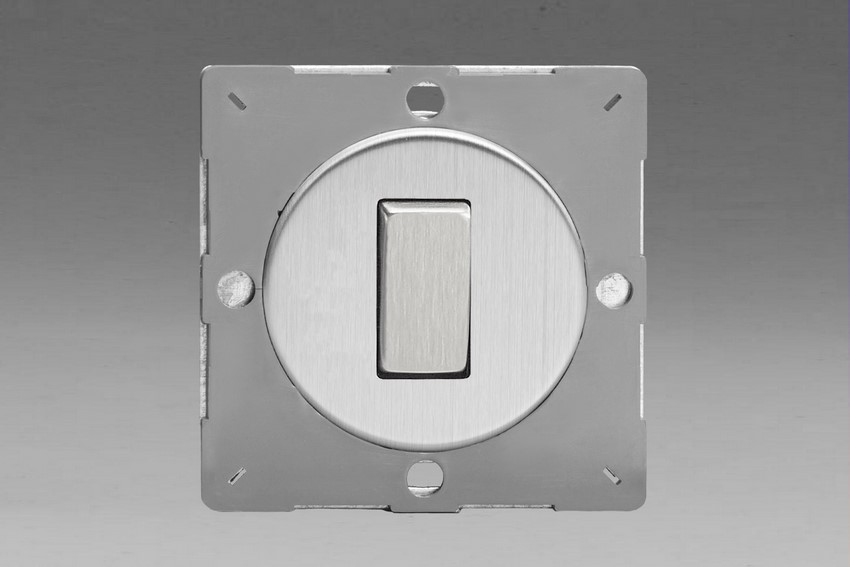 Z1EG1S-P Varilight European VariGrid 1 gang 1 or 2 Way 10A Rocker Brushed Steel Switch, for use with VariGrid Single, Double and Triple Faceplates
