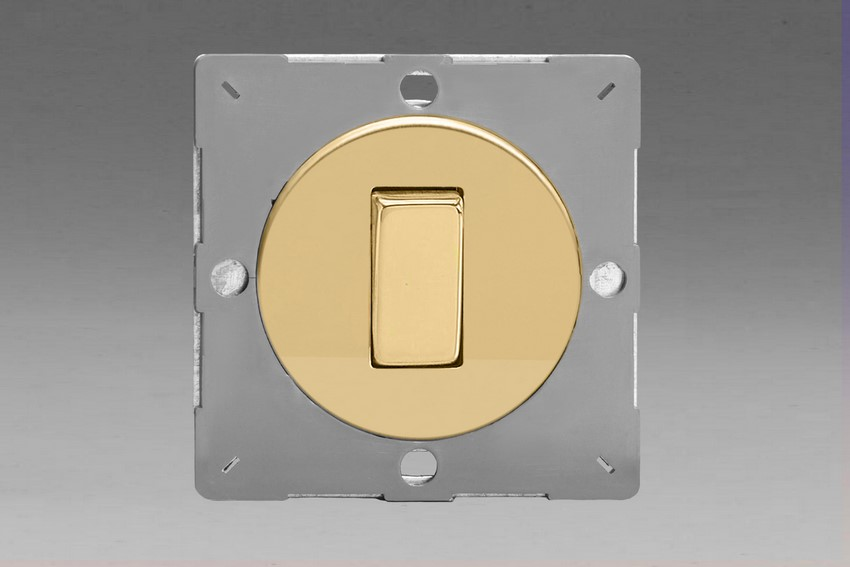 Z1EG1V-P Varilight European VariGrid 1 gang 1 or 2 Way 10A Rocker Polished Brass Switch, for use with VariGrid Single, Double and Triple Faceplates