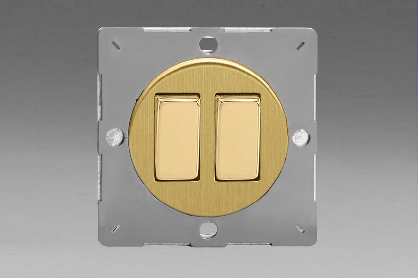 Z1EG2B-P Varilight European VariGrid 2 gang 1 or 2 Way 10A Rocker Polished Brass Switch, for use with VariGrid Single, Double and Triple Faceplates
