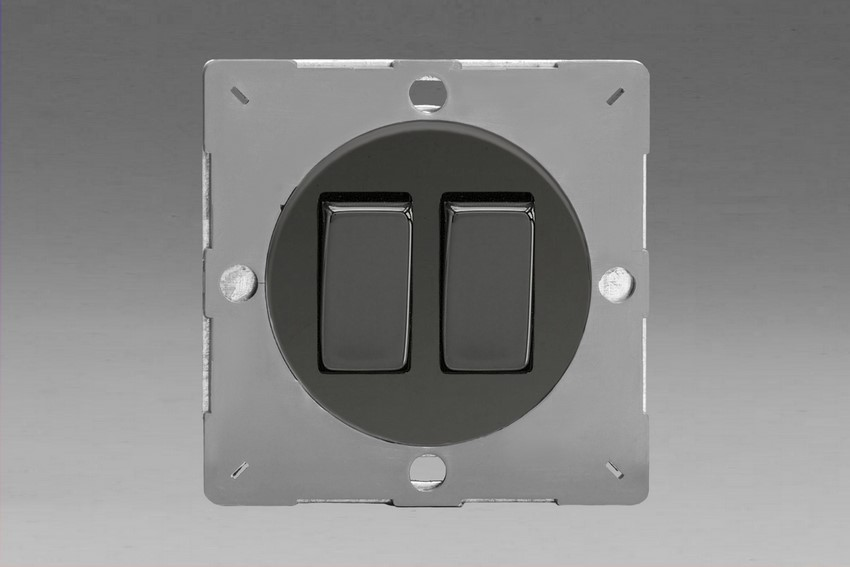 Z1EG2I-P Varilight European VariGrid 2 gang 1 or 2 Way 10A Rocker Iridium Black Switch, for use with VariGrid Single, Double and Triple Faceplates