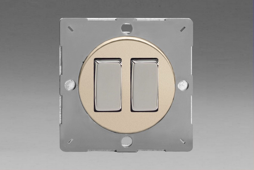 Z1EG2N-P Varilight European VariGrid 2 gang 1 or 2 Way 10A Rocker Polished Chrome Switch, for use with VariGrid Single, Double and Triple Faceplates