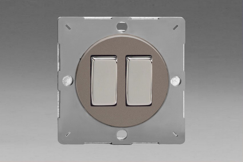 Z1EG2R-P Varilight European VariGrid 2 gang 1 or 2 Way 10A Rocker Polished Chrome Switch, for use with VariGrid Single, Double and Triple Faceplates