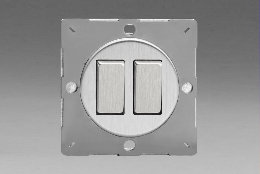 Z1EG2S-P Varilight European VariGrid 2 gang 1 or 2 Way 10A Rocker Brushed Steel Switch, for use with VariGrid Single, Double and Triple Faceplates
