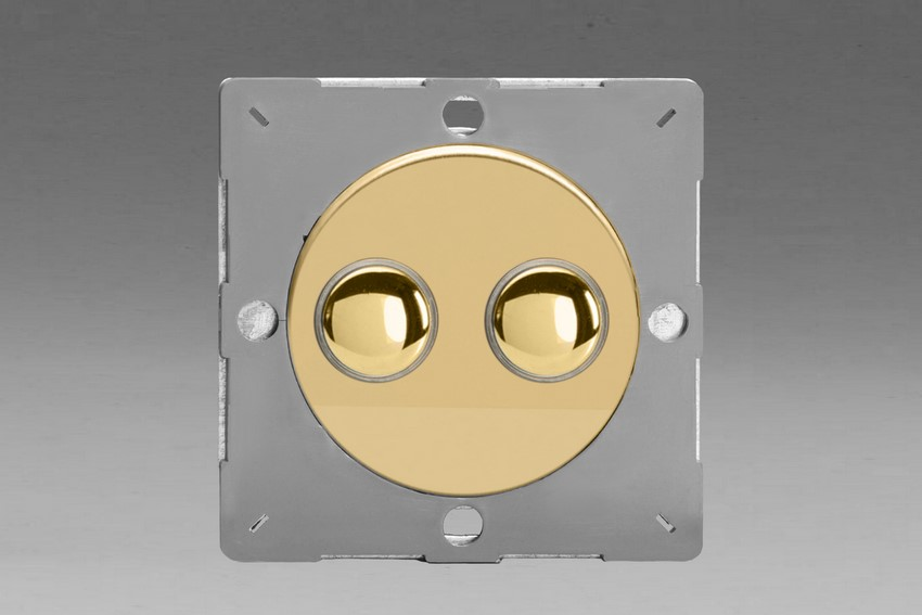 Varilight European Polished Brass VariGrid 2 Gang 1 Way Only 6A Push Momentary Switch