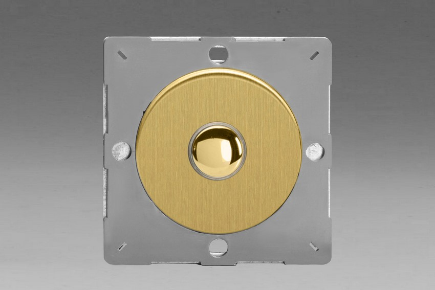 Z1EGP1B-P Varilight European VariGrid 1 gang 1 or 2 Way 6A Impulse Polished Brass Switch, for use with VariGrid Single, Double and Triple Faceplates