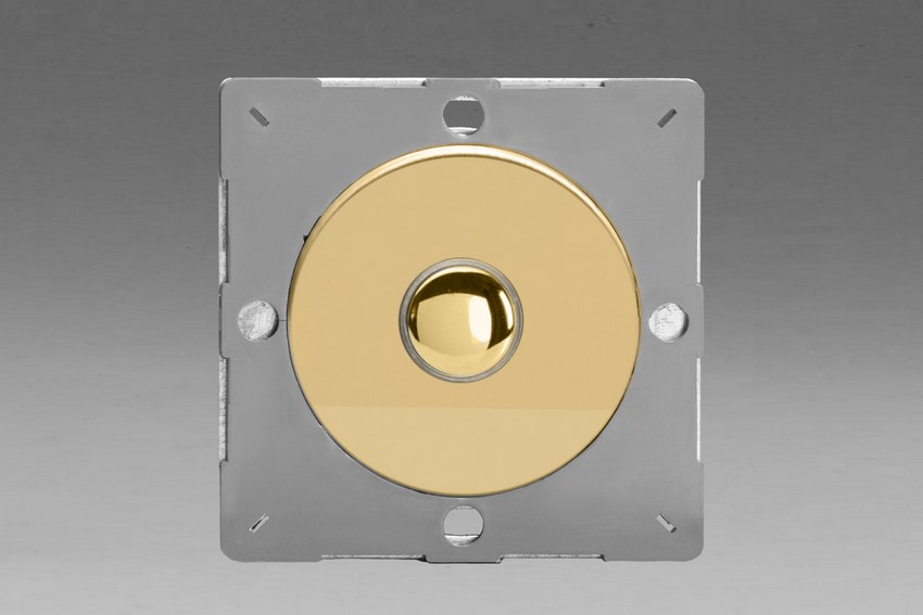 Z1EGP1V-P Varilight European VariGrid 1 gang 1 or 2 Way 6A Impulse Polished Brass Switch, for use with VariGrid Single, Double and Triple Faceplates