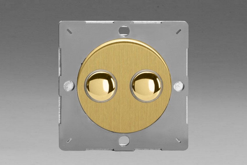 Z1EGM2B-P Varilight European VariGrid 2 gang 1 Way Only 6A Push Momentary Polished Brass Switch, for use with VariGrid Single, Double and Triple Faceplates