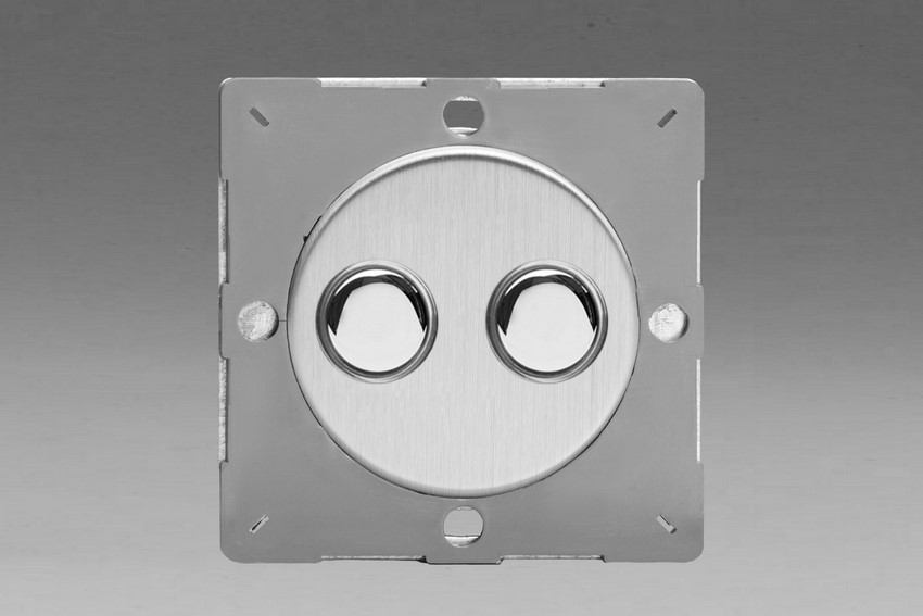 Z1EGM2S-P Varilight European VariGrid 2 gang 1 Way Only 6A Push Momentary Polished Chrome Switch, for use with VariGrid Single, Double and Triple Faceplates