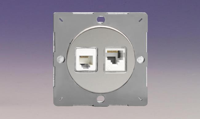 Z1EGRJ1245WC-P Varilight European VariGrid 2 Gang, RJ45 Cat 5e Data Socket in white, for CAT 5 and CAT 5e installations, and RJ12 Telephone Socket, for use with VariGrid Single, Double and Triple Faceplates