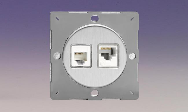 Z1EGRJ1245WS-P Varilight European VariGrid 2 Gang, RJ45 Cat 5e Data Socket in white, for CAT 5 and CAT 5e installations, and RJ12 Telephone Socket, for use with VariGrid Single, Double and Triple Faceplates