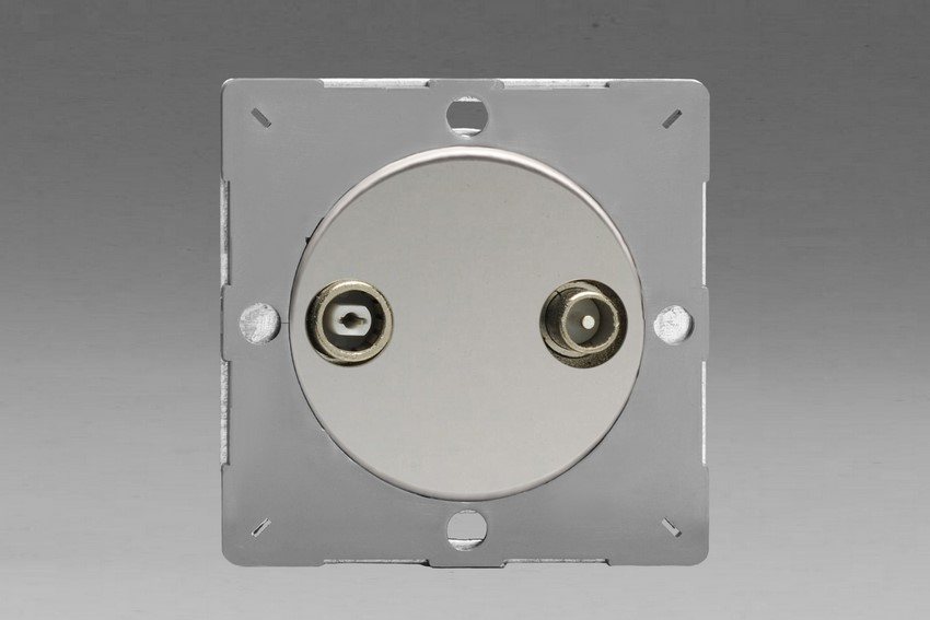 Z1EGRTV2C-P Varilight European VariGrid 2 Gang Radio and TV Termination Socket, for use with VariGrid Single, Double and Triple Faceplates