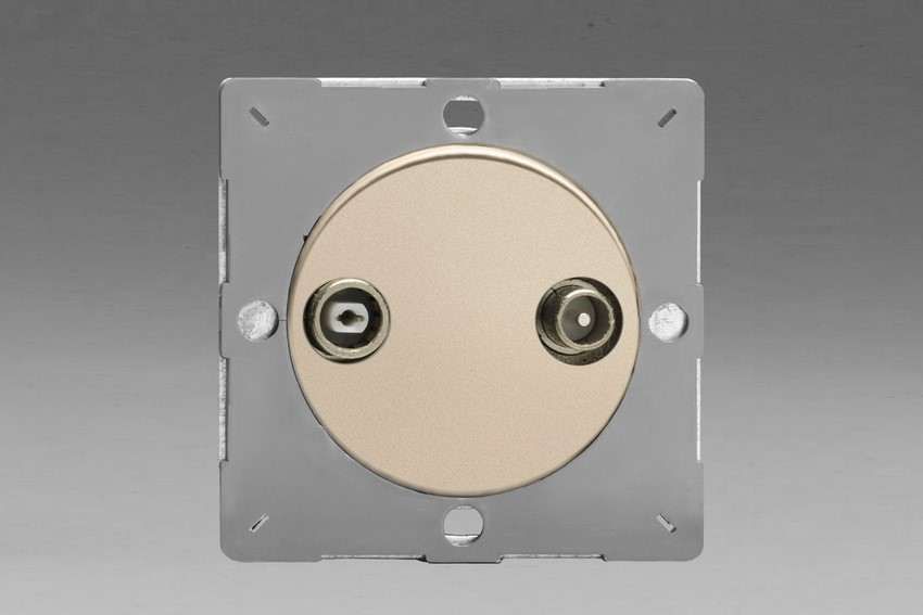Z1EGRTV2N-P Varilight European VariGrid 2 Gang Radio and TV Termination Socket, for use with VariGrid Single, Double and Triple Faceplates