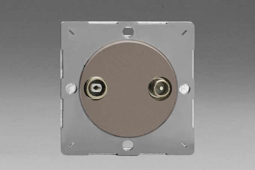 Z1EGRTV2R-P Varilight European VariGrid 2 Gang Radio and TV Termination Socket, for use with VariGrid Single, Double and Triple Faceplates