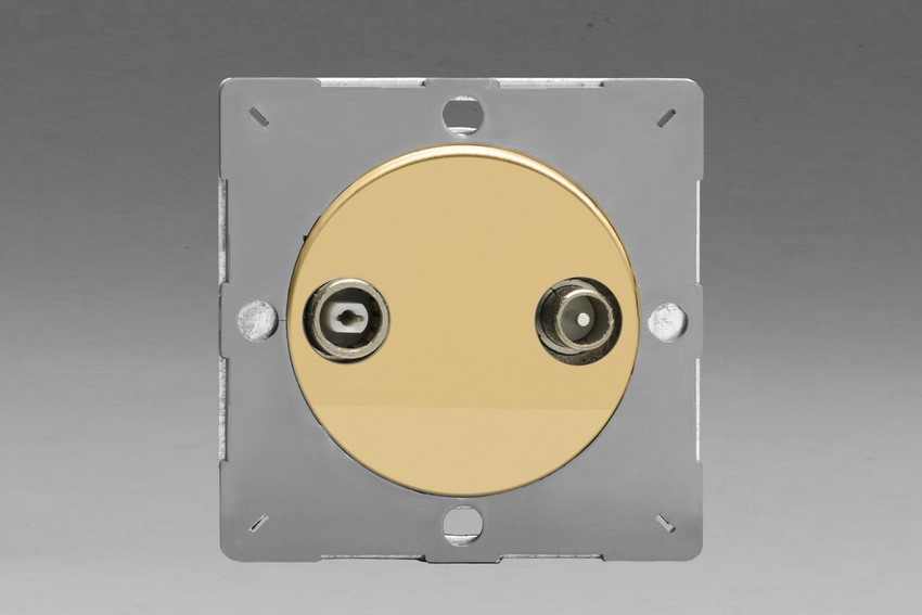 Z1EGRTV2V-P Varilight European VariGrid 2 Gang Radio and TV Termination Socket, for use with VariGrid Single, Double and Triple Faceplates