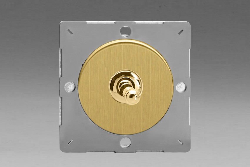 Z1EGT1B-P Varilight European VariGrid 1 gang 1 or 2 Way 10A Toggle Polished Brass Switch, for use with VariGrid Single, Double and Triple Faceplates