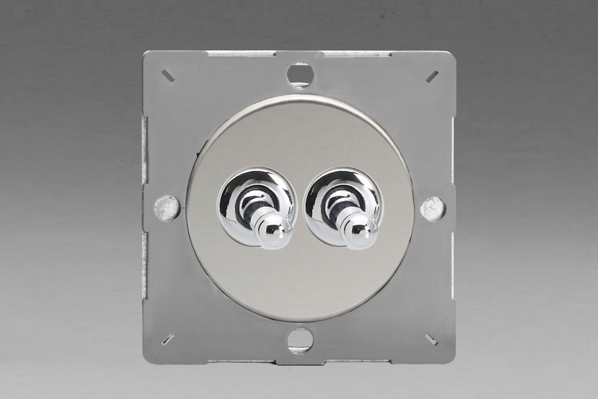 Z1EGT2C-P Varilight European VariGrid 2 gang 1 or 2 Way 10A Toggle Polished Chrome Switch, for use with VariGrid Single, Double and Triple Faceplates