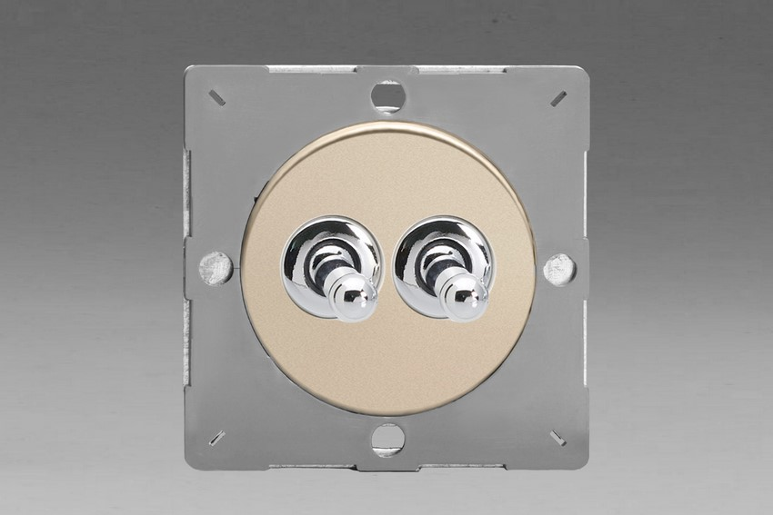 Z1EGT2N-P Varilight European VariGrid 2 gang 1 or 2 Way 10A Toggle Polished Chrome Switch, for use with VariGrid Single, Double and Triple Faceplates