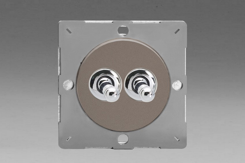 Z1EGT2R-P Varilight European VariGrid 2 gang 1 or 2 Way 10A Toggle Polished Chrome Switch, for use with VariGrid Single, Double and Triple Faceplates