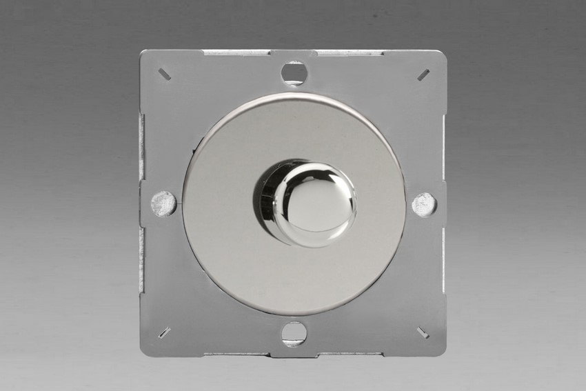 Z1EGTP1C-P Varilight European VariGrid Thermal Series 1 gang 1 or 2 Way 60-400 Watt Push on/off Rotary Dimming with a Polished Chrome Knob (Not for LEDs), for use with VariGrid Single, Double and Triple Faceplates