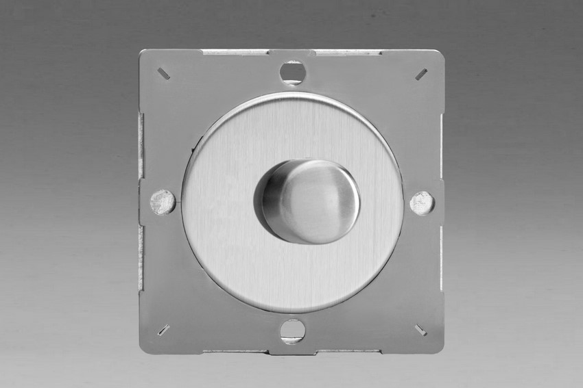 Z1EGTP1S-P Varilight European VariGrid Thermal Series 1 gang 1 or 2 Way 60-400 Watt Push on/off Rotary Dimming with a Brushed Steel Knob (Not for LEDs), for use with VariGrid Single, Double and Triple Faceplates