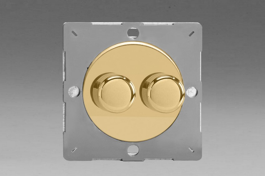 Z1EGTP2V-P Varilight European VariGrid Thermal Series 2 gang 1 (or 2) Way 40-250 Watt Push on/off Rotary Dimming with Polished Brass Knobs (Not for LEDs), for use with VariGrid Single, Double and Triple Faceplates