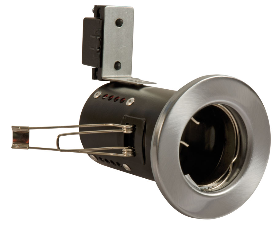 Fire Rated Downlight GU10 Fixed - Satin Chrome (FGFS-1) (This Matches With Varilight's Brushed Steel Ranges)